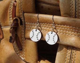 Wood Baseball Dangle Earrings - Hand Painted - Baseball Mom Gift