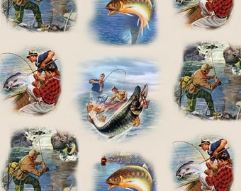 Cream Fishing Fabric