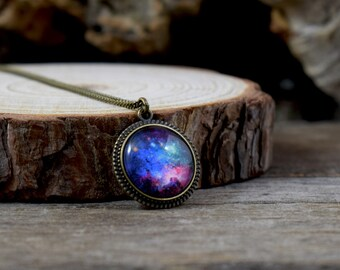 Colorful galaxy necklace, Starry universe pendant, Galaxy pendant, Nebula necklace, Space pendant, Galaxy jewelry,  Picture necklace UJ 075
