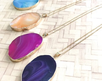 Gemstone Pendant Necklace - Slice Agate, Gold Plated Chain Necklaces, Positive Vibes, Birthday Gift, Mothers Day, Gifts for her, Minimalist