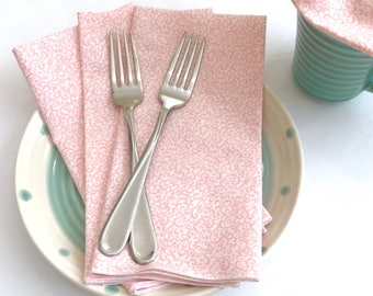 Cloth Napkins - Luncheon Napkins - Scroll Print Napkins - Spring Napkins -  Cloth Dinner Napkins - Baby Shower Napkins - Easter Napkins