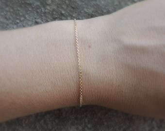 Solid Yellow Gold Chain Bracelet 10k - Italian 1.2mm Cable Diamond Cut