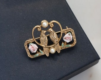 Love Birds Gold Tone Brooch - Pink Rose Flower Pin
