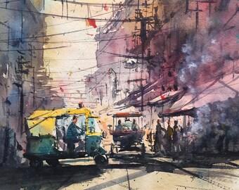 New Delhi old bazaar watercolor painting art print.