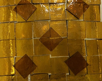 """3/4"""" DARK AMBER SEEDY Golden Transparent Stained Glass Mosaic Tile Supply O9"""