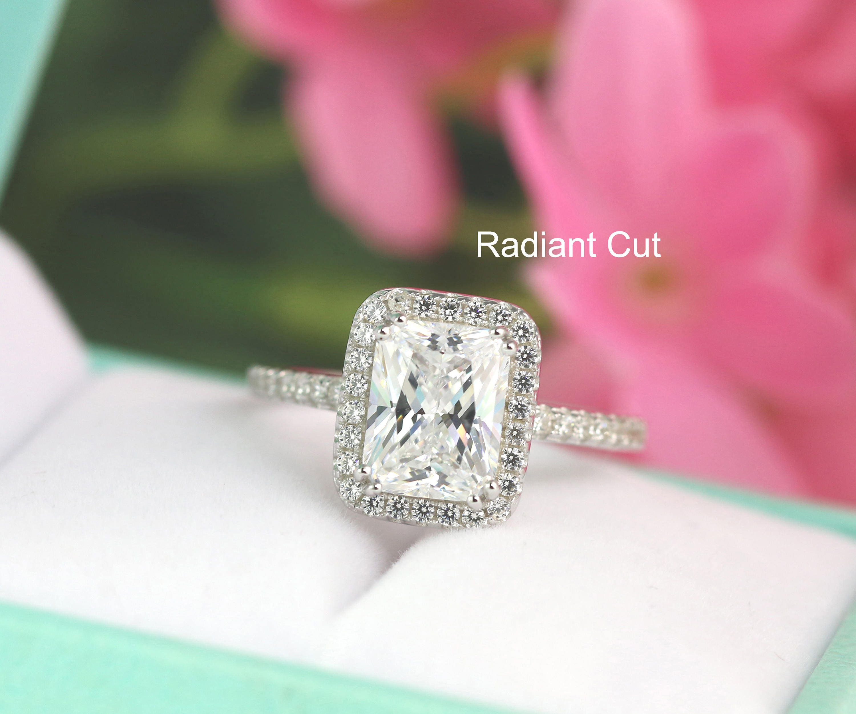 3.4ct tw Emerald Radiant Cut Engagement Ring Radiant Halo