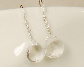 Clear Crystal Quartz Earrings, Clear Gemstone Earrings, Gemstone Bridal, Bridal Earrings, Bridesmaid Gift, Sterling Silver, Real Gemstone