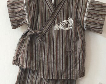 Toddler Kimono, Brown Stripe Traditional Design, Baby Kimono, Child Kimono, Baby Gifts, Baby Jinbei, Photo Prop Idea, Ninja Outfit, Kawaii