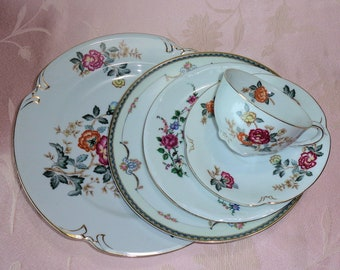 Vintage Mismatched Elegant China Place Setting Roses Flowers Five Pieces Dinner Salad Bread Plate Cup Saucer