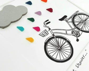 3D paper art, personalised nursery decor, paper craft, bicycle art, cloud and raindrops, rainbow nursery decor, box frame art, rainbow art