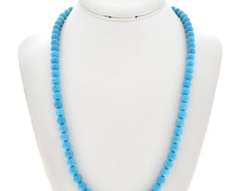 Blue Turquoise Round Bead Navajo Necklace Native American Jewelry Gift For Her