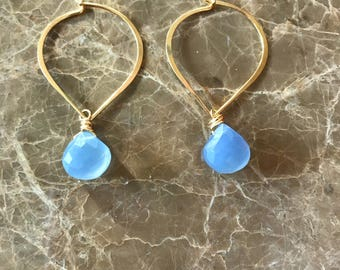 Petal Hoops Aqua Chalcedony Earrings 24K  Vermeil Petal Hoop Earrings Blue Chalcedony Earrings Gemstone Earrings Dainty Earrings Hoop