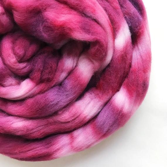 ROUGE hand dyed roving merino wool 4 oz.