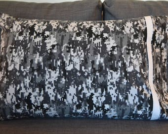Black and White Pixelated Flannel Pillowcase