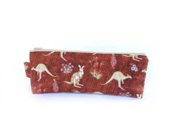 Kangaroo Case, Pencil Case, Stationery Case, Back to School, Australian Gift Under 35, Planner Pen Pouch, Cosmetic Bag, Project Bag Crochet