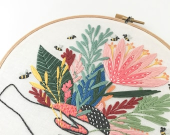 PDF Digital Download - Artist Series - Floral Hands Embroidery Pattern - Thread Folk and Lauren Merrick