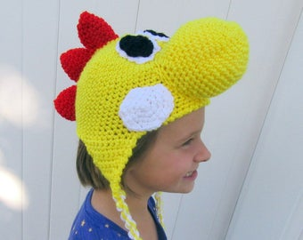 Yellow Yoshi Inspired Hat-Sized for Child