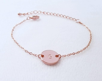 Custom Rose Gold Initial Disc Bracelet, Letter Coin Bracelet, Personalized Hand Stamped Monogram Bracelet,Handmade  jewelry, Bridesmaid gift
