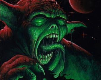 """Dark Side Yoda 8""""x10"""" acrylic on canvas ORIGINAL"""