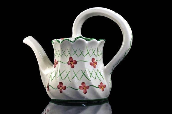 Watering Can, Casa Fina, Portugal, RCCL, Watering Pitcher, Hand Painted, Green, White, Red, Porcelain