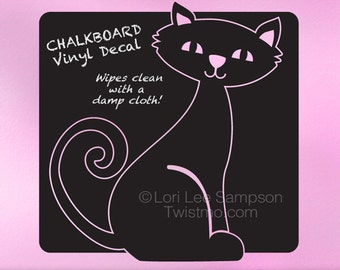 Cat Decal Chalkboard Wall Decal, Animal Decor, Kids Bedroom Decor, Kids Playroom Decal, Animal Decal