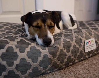 Personalized Dog Bed |•| Small Orange Quatrefoil Pet Bed |•| Best Custom Beds |•| Dog Bed Pillow Covers |•| Puppy Gift by Three Spoiled Dogs