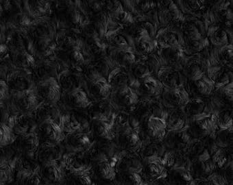 Black Rosebud Cuddle Minky Fabric, Sold by The Yard