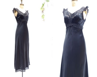 40s Nightgown Silk Nightgown Vintage 1940s Silk Night Gown Black Silk Nightdress Silk Nightie 1940s Slip Dress Small S