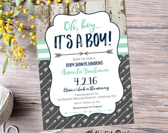 rustic baby boy shower invitation | boy oh boy | boho baby shower tribal | baby boy shower invitation arrows | diaper | 12120 Katiedid Cards