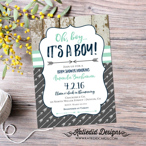 Tribal baby shower invitation boy couples rustic coed diaper wipes brunch mint navy gray twins arrow boho sprinkle sip see | 12120 Katiedid