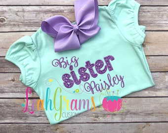 Big Sister Applique Ruffle Shirt- Personalized Shirt- Pregnancy Annoucement- Sister Shirt- Short or Long Sleeve