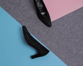 gabor black suede heels 37,5 size 4,5 high heeled vintage shoes 80s 90s leather heels black vintage pumps elegant vtg shoes all-leather heel