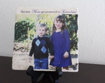 """Personalized """"The Best Moms get Promoted to Grandma"""" Marble Photo Tile"""