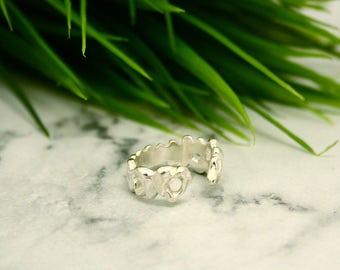 Earthen III Adjustable Silver Organic Ring