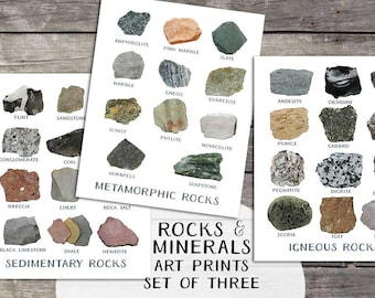 3 geology prints | Printable geology art | rocks minerals | Modern decor | igneous metamorphic sedimentary art print | science wall art