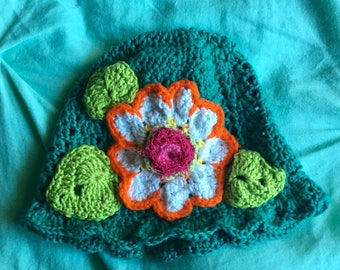 Childs Teal Green Cotton hat with flowers