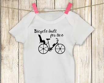Onesie Bicyclist Bicycle Built for Two Options Pink Blue Mommy's or Daddy's new bike