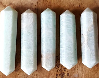 Amazonite Double Terminated Point  - Hand Cut Natural Stone Point for Crystal Grids or Terrarium 236