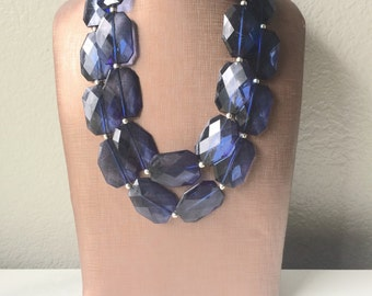 Navy Blue Chunky Statement Necklace, double strand necklace, blue necklace, dark blue necklace, navy blue wedding, bridesmaid necklace