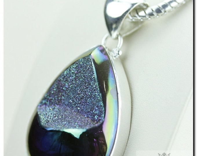 Midnight Titanium Window Drusy Druzy 925 SOLID Sterling Silver Pendant + 4mm Snake Chain & FREE Worldwide Shipping p1329