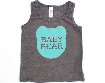 Baby Bear Kids Toddler TriBlend Heather Brown Tank Top with Aqua Blue Print