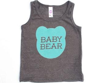 Baby Bear Kids Toddler TriBlend Heather Brown Tank Top with Aqua Blue Print