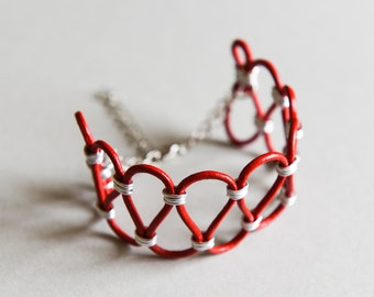 """Cuff Bracelet Rock Ethnic Leather and Aluminium """"Loop"""" Red and Silver"""