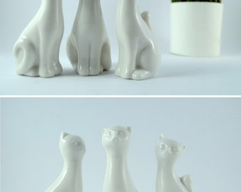Little Porcelain Cats Set of 3, White Porcelain Cats, Small Cat Figurines, Vintage Ceramic Cats, Cat Lovers Gift, Sitting Kitty Figurines