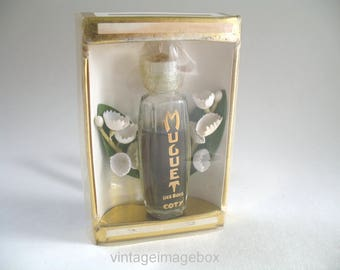 Coty Muguet Des Bois Vintage Perfume Mini Bottle with Box and Lily Of The Valley Flowers, 50s 60s