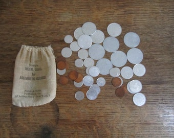 Noble's Metal Coins for Arithmetic Classes. Bag of Educational Aide, Fake Money for Arithmetic Classes. Upcycle , Repurpose, Teach Kids.