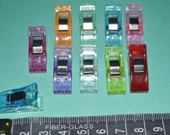 10 x Mini Quilting Clips/Sewing Clips/Binding Clips - Mixed Colours