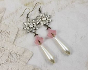 Vintage Assemblage Rhinestone Floral Dangle Earrings, Rose Quartz Bells with Pearls and Rhinestone Assemblage Earrings, Pink Bridal Earrings