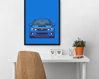 Subaru WRX STI 3rd Gen Car Poster Art Print Wall Art