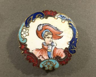 Early 1800's Champleve enamel hand painted button.